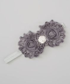 Gray Double-Flower Sparkle Headband | Something special every day