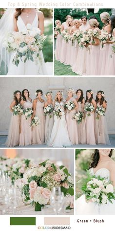 Top 8 Spring Wedding Color Palettes for 2019 -No.8 Green and Blush #colsbm #bridesmaids #weddings #weddingideas #springweddings b496