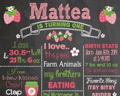 First Birthday Chalkboard Printable Poster Strawberry Theme / Baby Girl / Birthday .jpeg - Name Baby Girl - Ideas of Name Baby Girl - First Birthday Chalkboard Printable Poster by RusticRosebudDesigns Baby Girl Birthday Theme, First Birthday Party Themes, Birthday Ideas, Birthday Decorations, 2nd Birthday, Printable Poster, Chalkboard Printable, Chalkboard Poster, Strawberry Shortcake Birthday