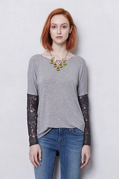 Anthropologie Top - I love the lace, add to a pre-existing shirt to fancy it up