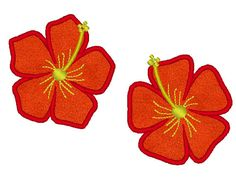 Two hawaiian flowers many sizes available #hawaii #hawaiian listing at https://www.etsy.com/listing/88695952/hibiscus-machine-embroidery-applique-and