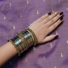 The Urvashi Bangles Set is now accessible India Development for USD with free shi Bridal Bangles, Silver Bangles, Bridal Jewelry, Diy Jewelry Necklace, Hand Jewelry, Ankle Jewelry, Necklace Designs, Gold Jewellery, Metal Jewelry