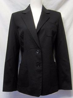 Banana Republic Black Stretch Wool Long JACKET/BLAZER 2 button M/10 NWT  #BananaRepublic #Blazer