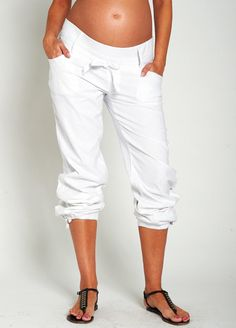Noppies - White Linen Maternity Pants. Summer cool maternity trousers online at Queen Bee