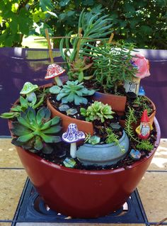 August is clearance time for plants & pots. It was fun to make a little gnome ga. August is clearance time for plants & pots. It was fun to make a little gnome ga… August is clearance time for plants & pots. It was fun to make a little gnome ga… Broken Pot Garden, Fairy Garden Pots, Garden Deco, Garden Terrarium, Gnome Garden, Fairy Gardens, Miniature Gardens, Succulent Pots, Succulents Garden