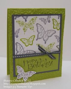 Lime & Gray Butterfly Birthday by stampinshauna - Cards and Paper Crafts at Splitcoaststampers
