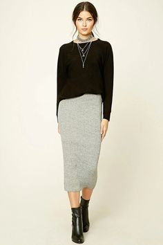 Forever 21 Contemporary - A ribbed sweater knit midi skirt featuring an elasticized waist and bodycon fit.
