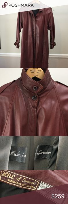 "RARE Vintage HUC of Sweden Leather Trench Coat There aren't enough words to convey the beauty of this coat!  It is in pristine, pre-owned,condition; there is no wear on the ""seat"" or cuffs like many used leather coats. This cordovan-color leather is a soft as butter and so supple that I suspect it is made of lamb leather, but there is nothing on the tags to indicate the leather type.  Beautiful box pIeat in back, brass buckles.  It flat-measures 38"" in the bust and 40"" in back length from…"