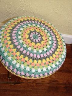 Blissfully You: Crochet Foot Stool Cover