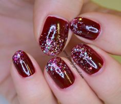 #RedCoatTuesday dark red nails with bling