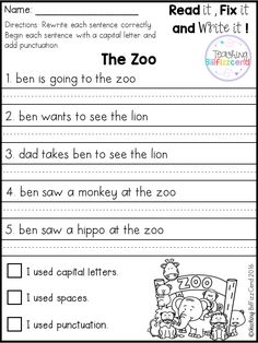 FREE Fix It Up Sentences Free 20 fix it up pages. These are great for students in kindergarten, first grade, and second grade. Students get extra practice reading, editing and rewriting the reading passages. 1st Grade Writing Worksheets, First Grade Writing, Kindergarten Worksheets, Punctuation Worksheets, Handwriting Worksheets For Kids, 1st Grade Activities, Free Worksheets, Work Activities, Sentence Writing