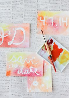 DIY // watercolor + resist postcards