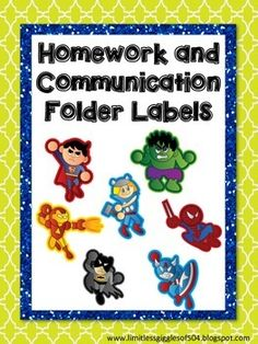 Super Hero Homework and Communication Folder Labels - Free