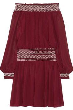 Tory Burch - Indie Off-the-shoulder Silk-georgette Mini Dress - Merlot - US10