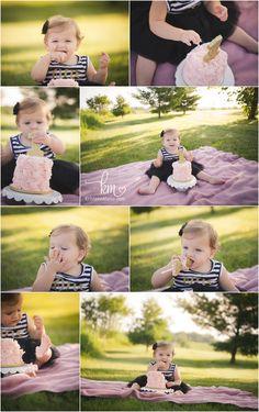 outdoor cake smash - little girl pink, gold, black and white 1st birthday cake smash
