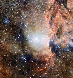 PHOTOGRAPH BY EUROPEAN SOUTHERN OBSERVAT... 星団、発光星雲、育星場。さいだん座OB1アソシエーションの一部をとらえたこの画像には、そのすべてが含まれている。中央のとくに明るい部分は散開星団NGC 6193で、その右側でリム星雲が明かりに照らされている。