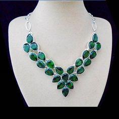 Peridotquarz, grün, Halskette, Collier, Silber plattiert in Uhren & Schmuck, Modeschmuck, Halsketten & Anhänger | eBay