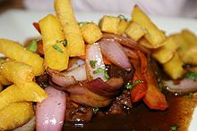 Lomo saltado, a native Peruvian dish. I make this almost every month when my family gets together for dinners!