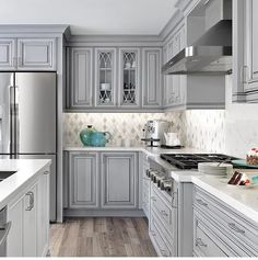 57 characteristics of grey kitchen ideas refined interior designs 31 Grey Kitchen Cabinets, Kitchen Cabinet Colors, Kitchen Redo, Home Decor Kitchen, New Kitchen, Kitchen Island, Kitchen Brick, Corner Cabinets, Soapstone Kitchen