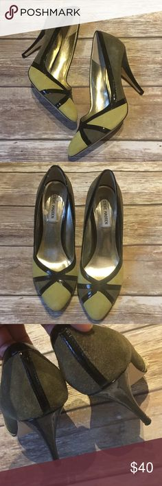 """Steve Madden Faux Suede Heels Steve Madden Faux Suede color block Heels features Patent Faux leather trim. Heel height 4"""". Steve Madden Shoes Heels"""