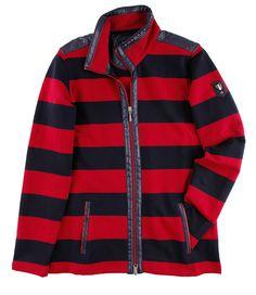 #Sweatjacke Blockstreifen Red Leather, Leather Jacket, Damen Sweatshirts, Trends, Winter, Tops, Jackets, Fashion, Athletic Outfits