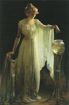 Charles Courtney Curran, The Goldfish. Charles Courtney Curran was an American painter. He is best known for his canvases depicting women in various settings. Woman Painting, Painting & Drawing, Wow Art, Classical Art, Renaissance Art, Goldfish, Beautiful Paintings, Old Paintings, Oeuvre D'art