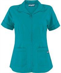 Butter-Soft Scrubs by UA - Women's Zipper Front Top, Style # Medical Uniforms, Work Uniforms, Spa Uniform, Medical Scrubs, Scrub Tops, Work Fashion, Playing Dress Up, Work Wear, Scrubs Uniform