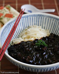The reason I love eating Jjajangmyun (my new comfort food) is because the thick, dark and rich gravy that coats the noodles reminds of KL ...