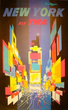 "David Klein  NEW YORK–Fly TWA, ca. 1960  Poster—Lithograph  Note: Blue Jet  25"" x 40"""