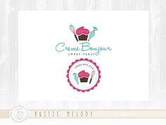 Cupcake Logo Design Bakery Logo Sweets Logo Boutique Logo Whisk Logo Cake Logo Watermark