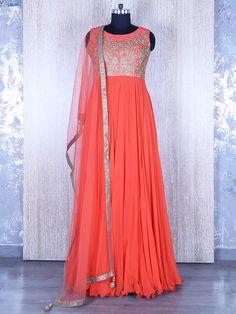 Orange Georgette Designer Salwar Suit