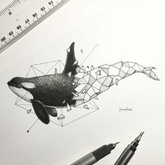 Lovely Half-Geometrical Drawings of Wild Animals Filipino illustrator Kerby Rosanes unveils a new graphic project in black and white titled Geometric Beasts, that highlights animals whose body is only composed of geometrical shapes that fit into each othe Geometric Drawing, Geometric Art, Geometric Animal, Geometric Designs, Geometric Tattoo Whale, Art And Illustration, Animal Illustrations, Illustrations Posters, Animal Drawings