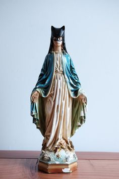 Original Holy Cat, Catwoman - Virgin Mary antique figurine makeover