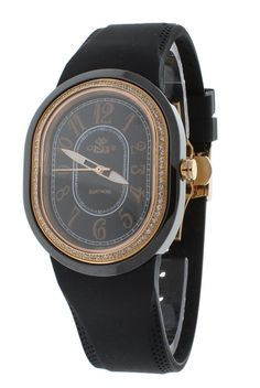 Oniss ON626-LRG/BK/BK/WH Women's Watch Rose Gold/Black Dial Black Oval Ceramic Case