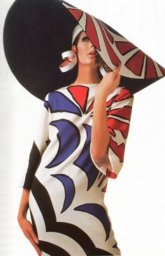 Like Jeanne Lanvin and Coco Chanel, Halston started his career as a milliner. He designed this oversized sun hat in 1967. Photo from Halston An American Original by Elaine Gross & Fred Rottman.