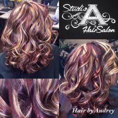 Brunette Hair Color With Highlights, Fall Hair Color For Brunettes, Brown Hair With Blonde Highlights, Fall Hair Colors, Hair Dye Colors, Cool Hair Color, Peekaboo Highlights, Purple Highlights, Pelo Color Borgoña