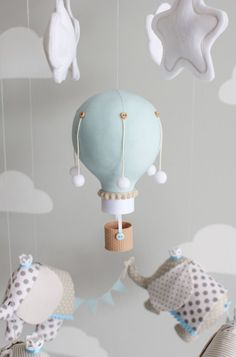 Elephant and Hot Air Balloon Baby Mobile by sunshineandvodka