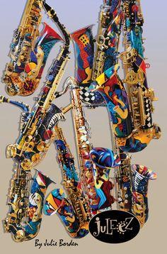 Juleez Hand Painted Saxophone Custom Music por JuleezGallery