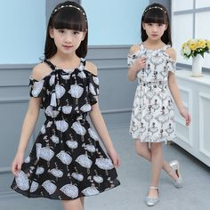 Hot sale 2017 summer cute fashion character chiffon children clothes kid party girl dresses princess dress for 4-12 years #Affiliate