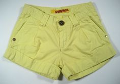 Miss Sixty DADA Yellow-Lime Cuffed Cotton Shorts