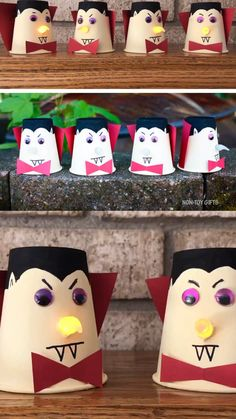 cheap halloween costumes Paper cup vampire craft A fun and non scary paper cup vampire craft for preschoolers and older kids. This makes and easy Halloween craft idea and a cheap Halloween decoration. Halloween Tags, Theme Halloween, Cheap Halloween Decorations, Halloween Prop, Halloween Crafts For Kids, Halloween Vampire, Christmas Crafts, Fall Decorations, Halloween Decorating Ideas