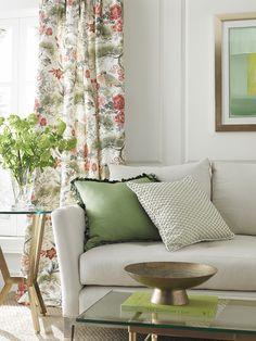 n Print, Fleur Embroidery, Toscana Linen, Moulin Fringe and Tribeca Sofa