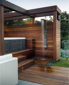 Hot tub with outdoor shower