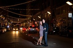 Night time down town engagement pics