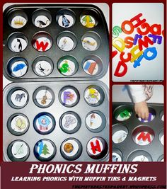 Phonics muffins- learning to sound with muffin tins and magnets.