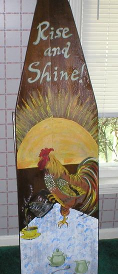 Mom's Wood Ironing Board… Painted Ironing Board, Wood Ironing Boards, Vintage Ironing Boards, Painted Boards, Wood Crafts, Diy Crafts, Chicken Painting, Decor Logo, Iron Board