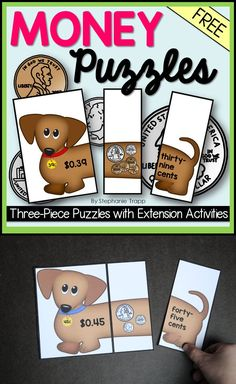 Ten FREE money puzzles with two extension activities. Students match the amount in numbers, coins, and words. Perfect for math centers! Money Activities, Money Games, Kindergarten Activities, Math Resources, Preschool, Teaching Money, Teaching Math, Teaching Ideas, Teaching Time