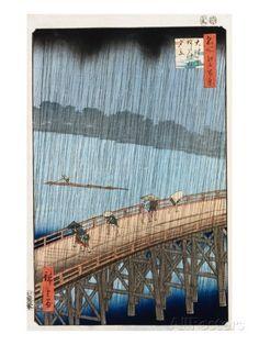 Ohashi, Sudden Shower at Atake Giclée-trykk av Ando Hiroshige hos AllPosters.no