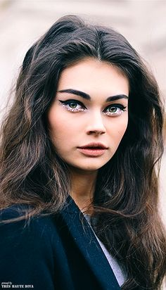 Gorgeous Antonia Vasylchenko after Chanel Couture Show 70's makeup