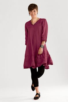 Cynthia Ashby Swing Dress in Sangria, Linen Dress | Artful Home